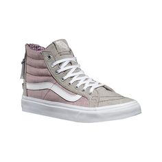 Vans Sk8-Hi Slim Zip - Floral Chambray Gray/True White Casual Shoes ($60) ❤ liked on Polyvore featuring shoes, sneakers, casual footwear, casual shoes, white sneakers, grey high top sneakers, high top sneakers, white high top sneakers and skate shoes