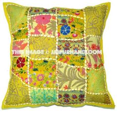 Shop Indian Style Organic Dining Chair Pillows Bohemian Yellow Floor pillows Cushions on sale. Our handmade patchwork pillows are so comfy and colorful. Tapestry Bedding, Dorm Tapestry, Wall Tapestries, Chair Pillow, Sofa Throw Pillows, Floor Cushions, Cushions On Sofa, Patchwork Cushion, Indian Crafts