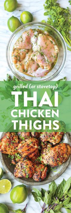 Thai Chicken Thighs Thai Chicken Thighs Thai Chicken Thighs - Damn Delicious<br> Cilantro, Thai basil, fish sauce, lime juice and brown sugar = best marinade ever. Grilled or cooked on a grill pan on the stovetop! Chicken Thigh Marinade, Grilled Chicken Thighs, Chicken Marinades, Asian Chicken Thighs, Paleo Chicken Thighs, Thai Grilled Chicken, Thai Basil Chicken, Boneless Skinless Chicken Thighs, Chicken Legs