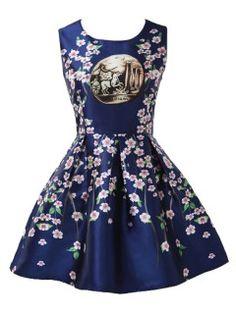 Royal Blue Retro Peach Blossom And Horse Print Mini Skater Dress