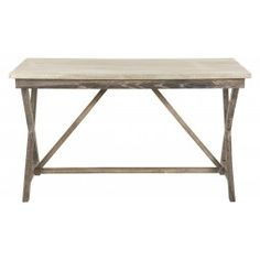 """Our Row Desk features a hand crafted oak base with a soft, grey stained finish. It's capped with a zinc wrapped desk top, adding to its handcrafted sensibility. Row is great in the family room for homework or a casual home office for paying the bills.    •53""""W x 30""""D x 30""""H  •hand crafted oak base  •grey stained finish  •zinc desktop"""