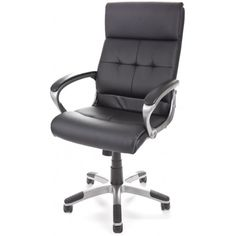 Dereham Executive #Leather Office #Chair: Product Code: Dereham Leather Availability: In Stock. £81 opening sale price The Dereham Executive Leather Office Chair is the ideal solution if you are looking for a stunning chair without a big price tag. The chair has soft padded arms with contoured cushions on the seat and back. The 5 star base is in a stunning fun metal colour.