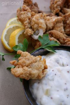 Fried Catfish Nuggets with Homemade Tartar Sauce- www.girlichef.com