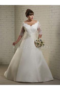 Glamorous Sweetheart Neckline Lace Sleeves Plus Size Wedding Dress