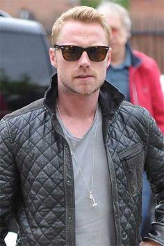 RONAN KEATING IN ALL SAINTS LEATHER JACKET