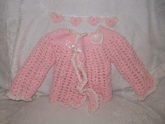 Crochet Baby Girl Sweater Set Ruffly Pink Sweater by Tilliesstuff, $15.00