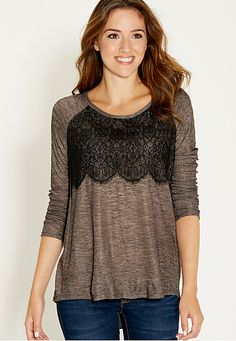 lacy pullover with chiffon back (original price, $32) available at #Maurices