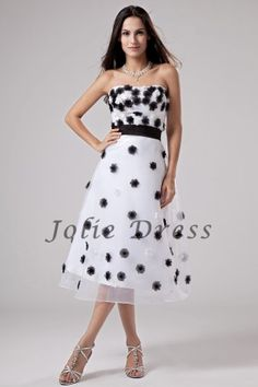 A-Line Tea-Length Strapless Organza Prom Dresses