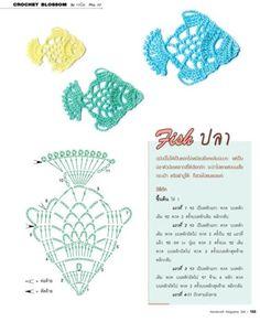 🐡 Aplique de Crochê em Peixes - / 🐡 Apply in Crocheting to Fishes - Crochet Fish, Freeform Crochet, Crochet Chart, Thread Crochet, Crochet Motif, Irish Crochet, Diy Crochet, Crochet Doilies, Crochet Stitches