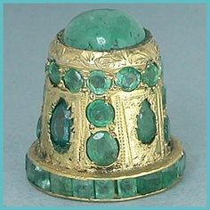 Jeweled Gilded Sterling Thimble w/ Real Emeralds * India * Mid 20th Century ~ how amazing!!