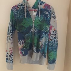 North Face Jacket Multicolored jacket. Barely worn. Has hood so nice for a rainy day! Thick material for a jacket! No holes or stains! The North Face Jackets & Coats