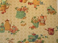 Vintage wallpaper for your kitchen and bath - another source - Retro Renovation 1950s Wallpaper, More Wallpaper, 50s Kitchen, Kitchen And Bath, Kitchen Ideas, Retro Renovation, 50s Vintage, Novelty Print, Early American