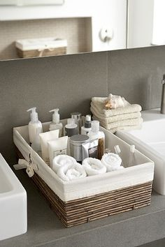 basket with necessities for bathroom