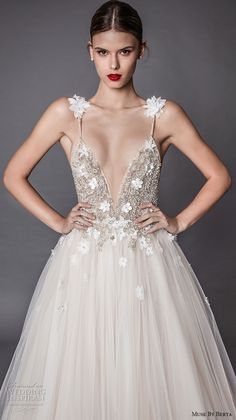 muse berta fall 2017 bridal spagetti strap deep v neck heavily embellished bodice floral applique tulle skirt romantic a  line wedding dress open low back sweep train (adel) zv