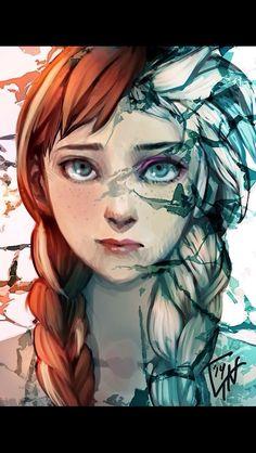 Anna Elsa frozen art