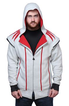 This Assassin's Creed II Ezio Hoodie Has All the Right Details Assassins Creed Hoodie, Assassin's Creed Ezio Costume, Modern Assassin, Evie Costume, Father Presents, Hooded Jacket, Hoodies, Sweatshirts, Rooftops