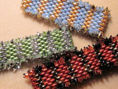 FREE TUTORIAL - Crystal Edged Striped Super Duo Cuffs by Linda Gettings at Bead-Patterns.com