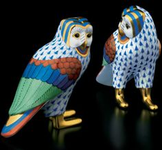 Herend Hand Painted Porcelain Figurines of Two Barn Like Owls Blue Fishnet Gold Accents.