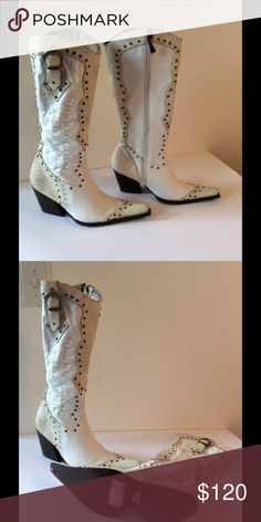 White leather cowboy boots White leather cowboy boots with studs. Need! Never wore. Columbia Shoes Ankle Boots & Booties