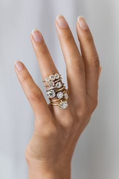 Chunky, delicious one of a kind antique diamond engagement rings from Sofia Kaman.