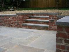 blue stone and red brick patio | ... patio with brick sitting wall and stairs pattern bluestone with brick