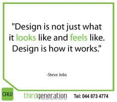 """""""Design is not just what it looks like and feels like. Design is how it works."""" -Steve Jobs #ThirdGenertionCAW #SundayMotivation"""