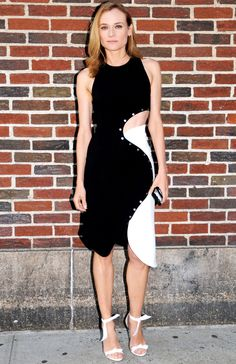 Diane Kruger in a black and white asymmetrical Mugler dress  at The Late Show in N.Y.C.