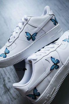 Custom Sneakers, Custom Shoes, Sneakers Nike, Jordan Shoes Girls, Girls Shoes, Nike Air Force Ones, Air Force 1, Baby Blue Shoes, Supreme Logo