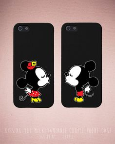 Couples iPhone Case Set - Matching iphone 4 4S 5 5C Galaxy S3 S4 Cases in Black with Kissing you mickey & Minnie - Romantic Gift on Etsy, $14.99