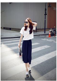 春夏物 韓国ファッション 半袖シャツ×ロングパンツ2点セットアップ