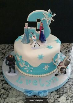 Frozen Themed Fondant Cake with Elsa, Anna, Olaf, Sven, and Critoph!!