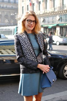 Natalia Vodianova Image Via: Trendy Crew. I like the jacket & dress combination with matching bag.