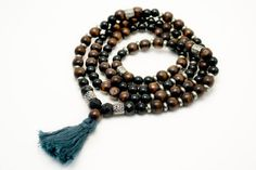 Dark Wood Mala Beads  Mala Necklace  Yoga by ShantiPresence, $40.00