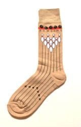 Foot Traffic's men's fun novelty socks. Not just for the bowling man, fun to wear anytime! Tan with black bowling lines and bowling pins on top. - Color- Tan with black & white accents - Men's Shoe Si