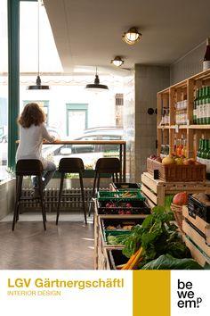 PROJECT_LGV-Gärtnergschäftl DEPARTMENT_Interior Design LOCATION_Vienna  Image: ©Christoph Panzer Vegetable Shop, Market Stands, Fresh Fruits And Vegetables, Garden S, Panzer, Location, Grocery Store, Interior Design, Furniture