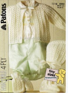 Baby knitting pattern baby lacy cardigan bonnet mitts bootees