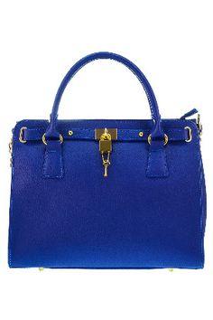 SERGIO BARI Double Handle & Chain Strap Bag In Blue
