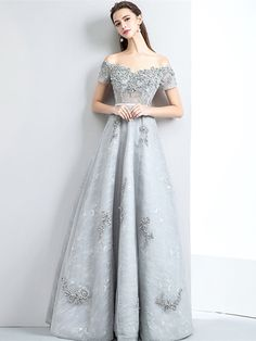 Buy Gorgeous Beaded Off Shoulder Grey Prom Dress Long with Lace at wholesale pri. Grey Party Dresses, Grey Prom Dress, Homecoming Dresses Long, Dress Long, Grey Gown, Stunning Dresses, Elegant Dresses, Pretty Dresses, Lace Evening Dresses