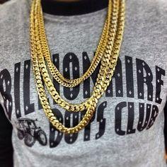 Sweatshirts and gold chains.