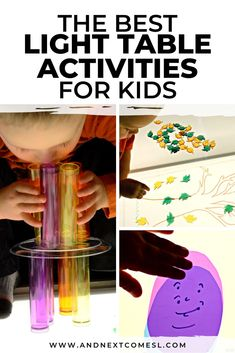 Looking for light table activities for your preschool or kindergarten classroom? Or maybe even for your toddlers to do at home? Then you'll want to check out this epic collection of light box activities and DIY light table accessories. So many fun ideas! Table Activities For Toddlers, Sensory Activities For Autism, Educational Activities For Kids, Infant Activities, Sensory Play, Light Table For Kids, Business For Kids, Kindergarten Classroom, Diy Light