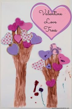 Arts Activities -- Valentine Love Trees by tracing arms and hands Fun Easy Crafts, Valentine's Day Crafts For Kids, Family Crafts, Cute Crafts, Toddler Crafts, Preschool Crafts, Art For Kids, Diy Crafts, Daycare Crafts