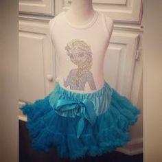 Elsa Frozen Tutu Birthday Outfit Shirt Rhinestone Bling