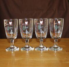 Cute, Vintage Stemmed Irish Coffee Glasses, with Recipe, Set of 4 Barware
