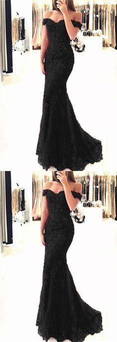 Long Black V-neck Off-the-shoulder Mermaid Prom Dresses 2018 Formal Evening Gowns