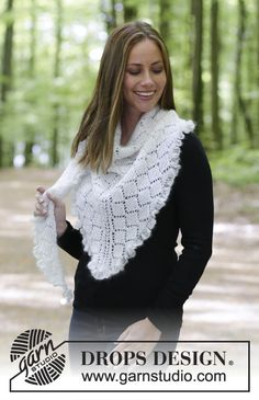 Chill and Frills / DROPS 179-32 - Shawl with lace pattern, garter stitch and flounce. Piece is knitted in 1 strand DROPS BabyAlpaca Silk and 1 strand DROPS Kid-Silk.