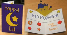 Masjid pop up card w/ template - excellent gift for the kids to make and give to others for Eid. Eid Crafts, Ramadan Crafts, Ramadan Decorations, Eid Moubarak, Muslim Celebrations, Eid Activities, Art For Kids, Crafts For Kids, Eid Party