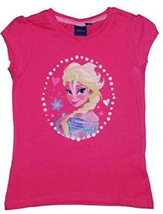 Disney Frozen - Camiseta de manga corta - Manga corta - para niña Fuchsia - Elsa 6 años #regalo #arte #geek #camiseta