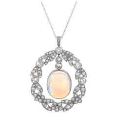 Art Deco Opal and Diamond Platinum Pendant