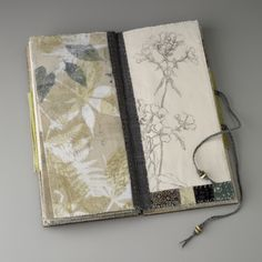 Sharon McCartney, Ephemeral Connections book, mixed media coptic bound book with printed and embroidered organdy pages