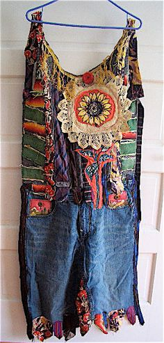 Upcycled Wearable Art COLLAGE Duster Maxi APRON Dress by MyBonny Inspiration pour ma robe en jeans longue.